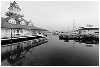 Period and modern boathouses, early morning, Coronado. San Diego, California, USA ( black and white)
