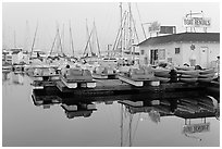 Boathouse and boats for rent, Coronado. San Diego, California, USA ( black and white)