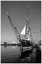 Star of India, the world's oldest active ship, Maritime Museum. San Diego, California, USA ( black and white)