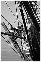 Prow of the HMS Surprise, Maritime Museum. San Diego, California, USA ( black and white)