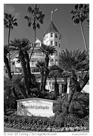 Sign, palm trees, and hotel Del Coronado. San Diego, California, USA
