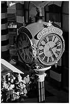 Jessops clock, called the finest street clock in the US. San Diego, California, USA (black and white)