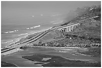 Coastal highway, early morning. La Jolla, San Diego, California, USA (black and white)