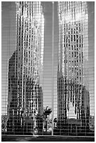 Bell tower reflected in Crystal Cathedral Facade. Garden Grove, Orange County, California, USA ( black and white)