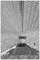 Interior structures of the Crystal Cathedral. Garden Grove, Orange County, California, USA (black and white)