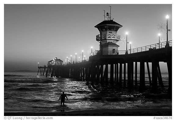 Surfer entering water next to the Huntington Pier, sunset. Huntington Beach, Orange County, California, USA (black and white)