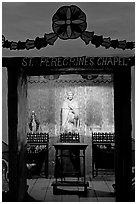 Side chapel in the Serra Chapel. San Juan Capistrano, Orange County, California, USA (black and white)