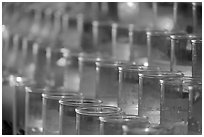 Rows of candles, narrow depth of field. San Juan Capistrano, Orange County, California, USA ( black and white)