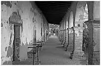 Corridor around the central courtyard. San Juan Capistrano, Orange County, California, USA (black and white)