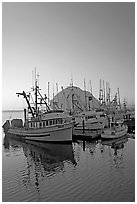 Fishing boats and Morro Rock, sunset. Morro Bay, USA ( black and white)