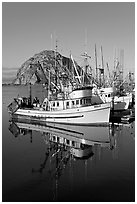 Fishing boats reflected in harbor,  and Morro Rock, early morning. Morro Bay, USA ( black and white)