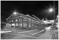Cannery row at night. Monterey, California, USA (black and white)