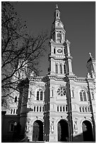 Cathedral of the Blessed Sacrament, afternoon. Sacramento, California, USA (black and white)