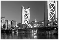 Tower bridge, a 1935 drawbridge, late afternoon. Sacramento, California, USA ( black and white)