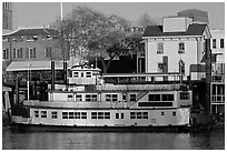 Spirit of Sacramento riverboat,  late afternoon. Sacramento, California, USA ( black and white)