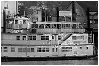 Last light on the Spirit of Sacramento riverboat. Sacramento, California, USA ( black and white)
