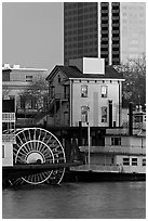 Paddle Steamers, historic house, and high rise building. Sacramento, California, USA ( black and white)
