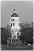 California State Capitol and Capitol Mall at dusk. Sacramento, California, USA ( black and white)