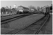 Railroad tracks and cars, Old Sacramento. Sacramento, California, USA ( black and white)