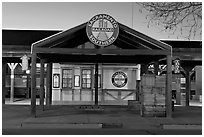 Southern Railroad station at dusk. Sacramento, California, USA ( black and white)