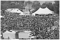 Crowds in Guadalupe River Park, Independence Day. San Jose, California, USA (black and white)