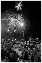 Families watching fireworks, Independence Day. San Jose, California, USA ( black and white)