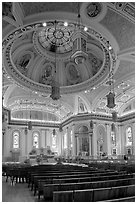 Dome and interior of Cathedral Saint Joseph. San Jose, California, USA ( black and white)