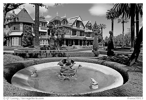 Basin, gardens and facade. Winchester Mystery House, San Jose, California, USA