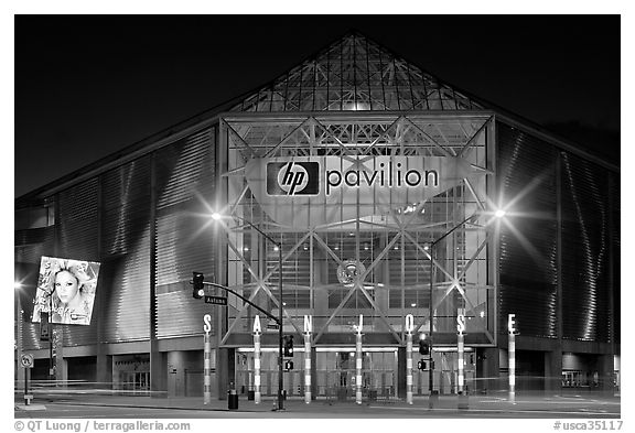 HP Pavilion and street at night. San Jose, California, USA