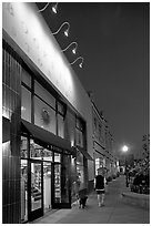 Books Inc bookstore and cafe at night, Castro Street, Mountain View. California, USA (black and white)