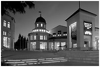 Center for Performing Arts at dusk, Castro Street, Mountain View. California, USA ( black and white)