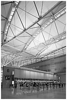 Check-in booth, SFO airport, designed by Craig Hartman. California, USA ( black and white)
