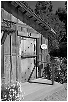 Barn-style shop, Allied Arts Guild. Menlo Park,  California, USA (black and white)