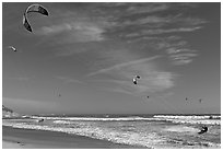 Kite surfers and coastline, Waddell Creek Beach. California, USA (black and white)