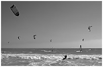 Kite surfing and wind surfing, Waddell Creek Beach. California, USA (black and white)