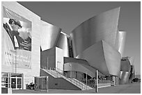 LA Philarmonic sign and concert hall, early morning. Los Angeles, California, USA (black and white)