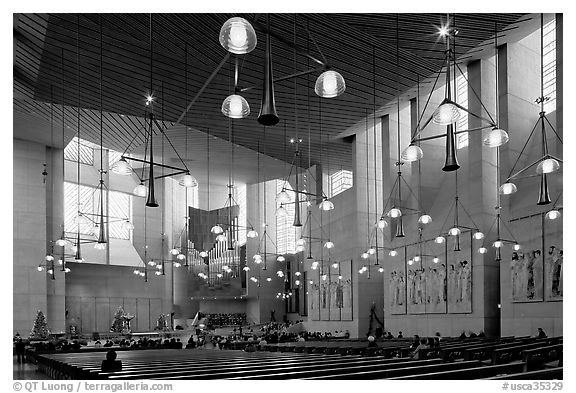 Main nave of the Cathedral of our Lady of the Angels. Los Angeles, California, USA (black and white)