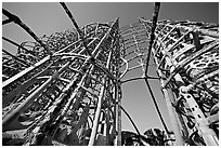 Simon Rodia  Watts Towers. Watts, Los Angeles, California, USA ( black and white)
