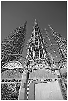 Wall and Towers, Watts Towers. Watts, Los Angeles, California, USA (black and white)