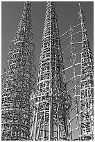 Three towers and hearts, Watts Towers. Watts, Los Angeles, California, USA (black and white)