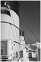 Smokestacks and air vents, Queen Mary. Long Beach, Los Angeles, California, USA (black and white)