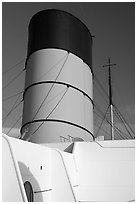 Smokestack, Queen Mary. Long Beach, Los Angeles, California, USA (black and white)