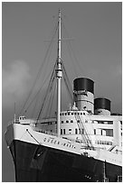 Queen Mary cruise ship. Long Beach, Los Angeles, California, USA (black and white)