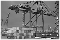 Countainers and cranes, Port of Los Angeles, dusk. Long Beach, Los Angeles, California, USA (black and white)