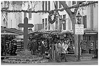 Stalls on Olvera Street, El Pueblo historic district. Los Angeles, California, USA (black and white)