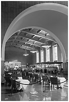 Central hall in Union Station. Los Angeles, California, USA (black and white)