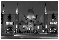 Grauman Chinese Theatre at dusk. Hollywood, Los Angeles, California, USA ( black and white)