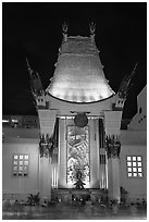 Main gate of Grauman Chinese Theatre at night. Hollywood, Los Angeles, California, USA ( black and white)