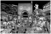 Hollywood and Highland shopping complex at night. Hollywood, Los Angeles, California, USA ( black and white)