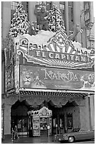 Spanish colonial facade of the El Capitan theatre. Hollywood, Los Angeles, California, USA (black and white)
